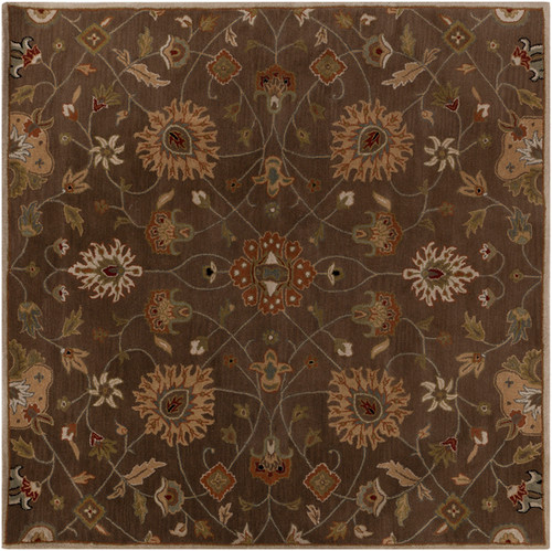 1.5' x 1.5' Hickory Brown and Sangria Red Hand Tufted Square Wool Area Throw Rug Corner Sample - IMAGE 1