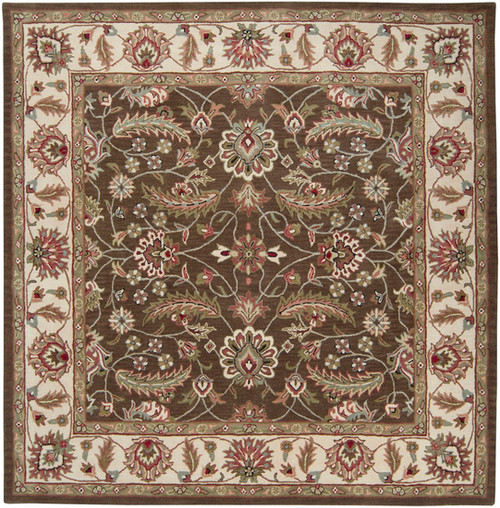 1.5' x 1.5' Olive Green and Chocolate Brown Hand Tufted Square Wool Area Throw Rug Corner Sample - IMAGE 1