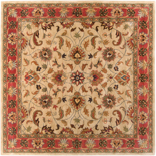 1.5' x 1.5' Red and Brown Hand Tufted Square Wool Area Throw Rug Corner Sample - IMAGE 1