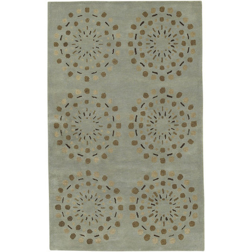 1.5' x 1.5' Asian Lotus Gray and Brown Square New Zealand Wool Area Throw Rug Corner Sample - IMAGE 1