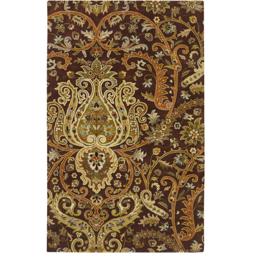 1.5' x 1.5' Traditional Caramel Brown and Beige Wool Area Throw Rug Corner Sample - IMAGE 1