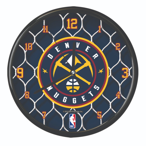 "11.5"" Navy Blue and Yellow NBA Denver Nuggets Net Wall Clock - IMAGE 1"