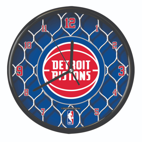 "11.5"" Blue and White NBA Detroit Pistons Net Wall Clock - IMAGE 1"