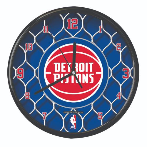 "11.5"" Blue and White NBA Detroit Pistons Net Wall Clock - IMAGE 1"