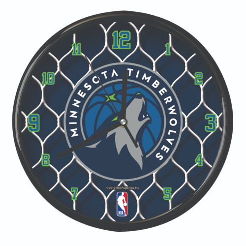 "11.5"" Teal Blue and White NBA Minnesota Timberwolves Net Wall Clock - IMAGE 1"