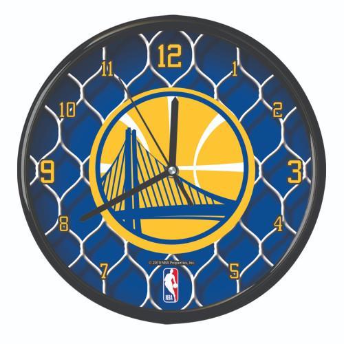"11.5"" Blue and Yellow NBA Golden State Warriors Net Wall Clock - IMAGE 1"