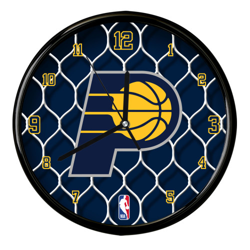 """11.5"""" Navy Blue and Yellow NBA Indiana Pacers Net Wall Clock - IMAGE 1"""
