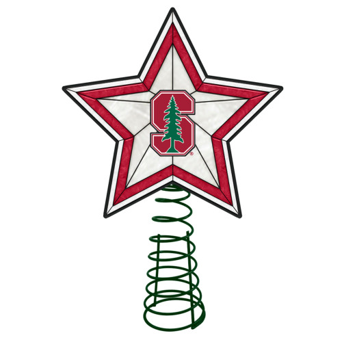"""10"""" Lighted Red and White Star NCAA Stanford Cardinal Christmas Tree Topper - IMAGE 1"""