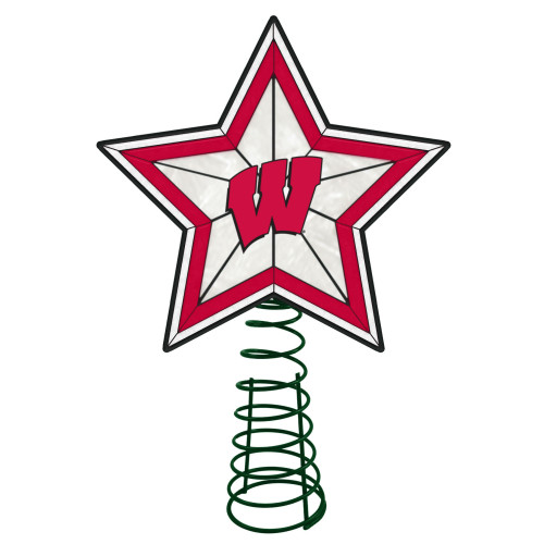 """10"""" Lighted Red and White Star NCAA Wisconsin Badgers Christmas Tree Topper - IMAGE 1"""