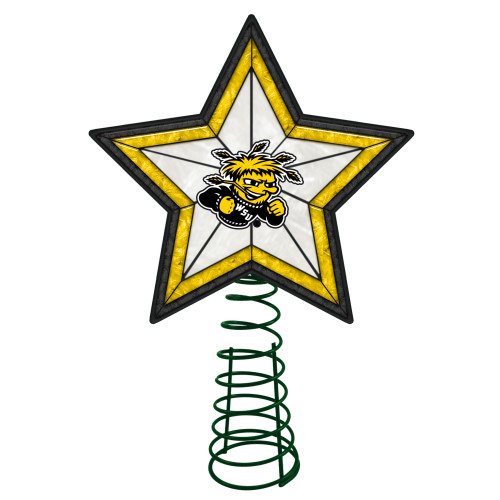 """10"""" Lighted Yellow and Black Star NCAA Wichita State Shockers Christmas Tree Topper - IMAGE 1"""