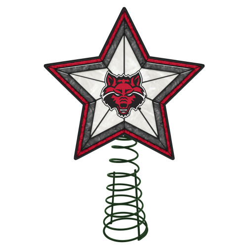 """10"""" Lighted Red and Gray Star NCAA Arkansas State Red Wolves Christmas Tree Topper - IMAGE 1"""