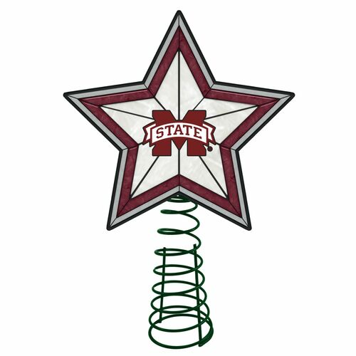 """10"""" Lighted Red and White Star NCAA Mississippi State Bulldogs Christmas Tree Topper - IMAGE 1"""