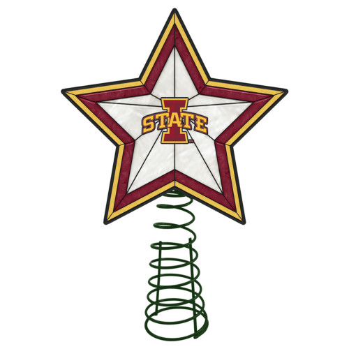 """10"""" Lighted Yellow and Pink Star NCAA Iowa State Cyclones Christmas Tree Topper - IMAGE 1"""