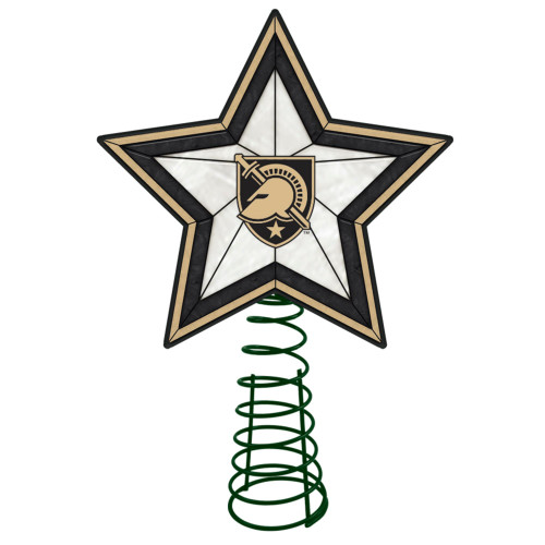 """10"""" Lighted Black and Beige Star NCAA Army Black Knights Christmas Tree Topper - IMAGE 1"""