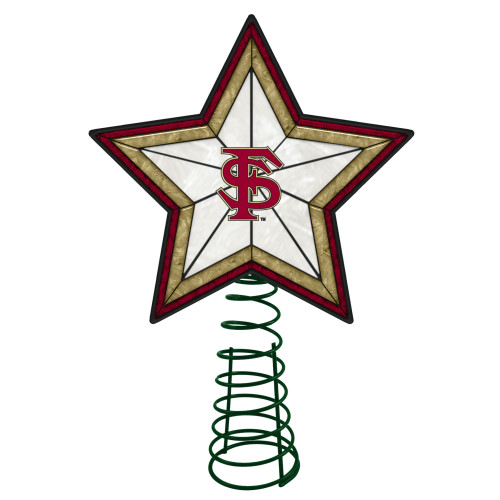 """10"""" Lighted Red and Gold Star NCAA Florida State Seminoles Christmas Tree Topper - IMAGE 1"""