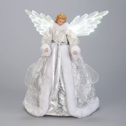 """18"""" LED Silver and White Christmas Angel Tree Topper with Battery Operated Motion Wings - IMAGE 1"""