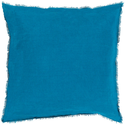 """18"""" Blue and Gray Solid Square Throw Pillow Cover with Fringed Edge - IMAGE 1"""