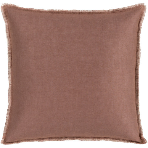 """18"""" Brown and Pale Pink Solid Square Throw Pillow Cover with Fringed Edge - IMAGE 1"""