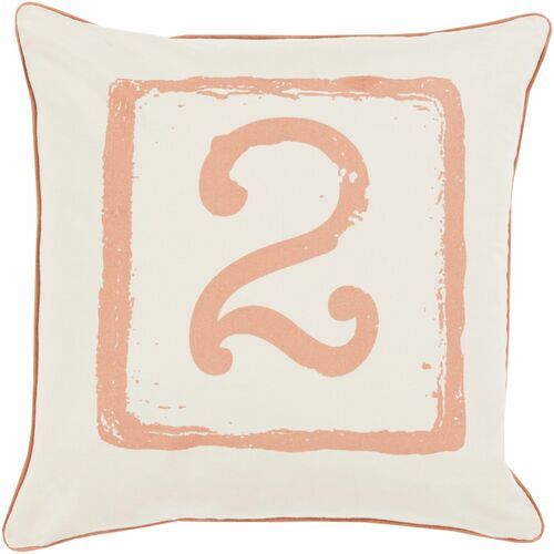 "20"" Cream White and Sepia Brown ""2"" Printed Square Throw Pillow Cover - IMAGE 1"
