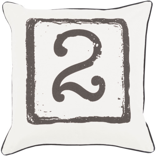 """18"""" White and Gray """"2"""" Printed Square Throw Pillow Cover - IMAGE 1"""