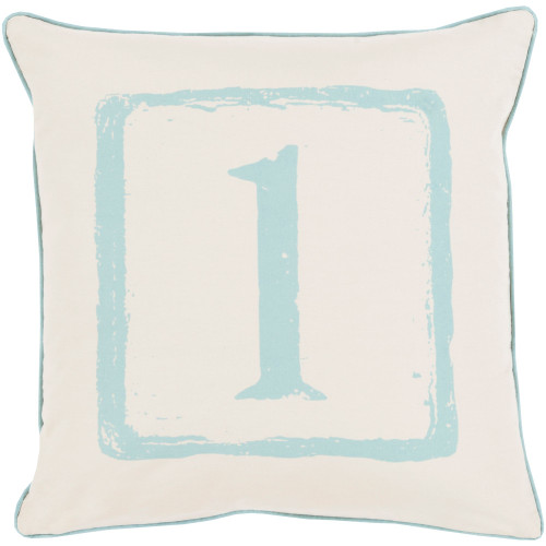 """20"""" Teal Blue and Beige """"1"""" Printed Square Throw Pillow Cover - IMAGE 1"""