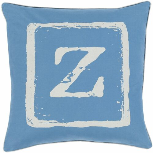 """18"""" Ivory and Blue """"Z"""" Printed Square Throw Pillow Cover - IMAGE 1"""