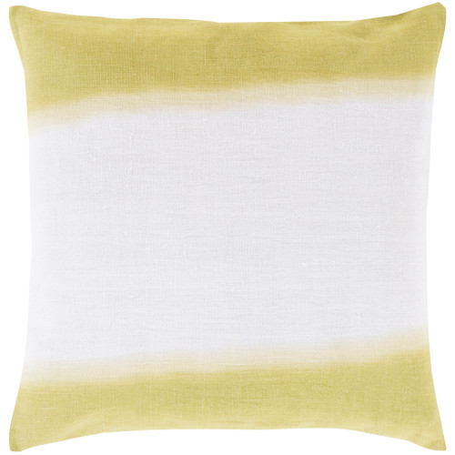 "20"" White and Olive Green Contemporary Square Throw Pillow Cover - IMAGE 1"