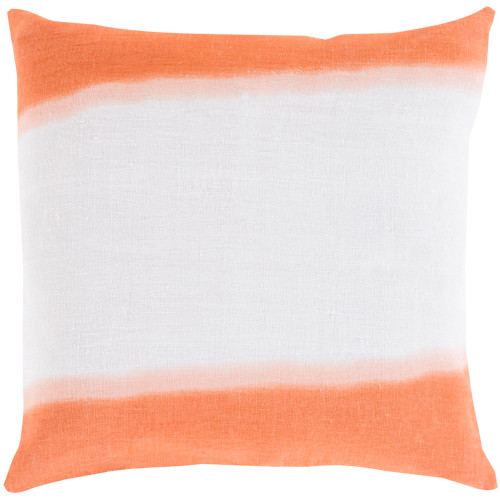 "20"" White and Orange Contemporary Square Throw Pillow Cover - IMAGE 1"
