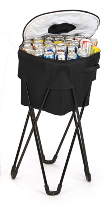 Portable Fold-Up Standing Cooler For Picnics & Tailgating Holds 72 Cans - Black - IMAGE 1