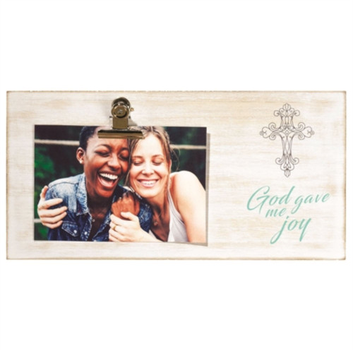 """8.25"""" Beige and Green Cross Printed Rectangular Photo Clip Wall Plaque - IMAGE 1"""