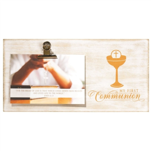 """8.25"""" Beige and Gold """"Communion Day"""" Rectangular Photo Clip Wall Plaque - IMAGE 1"""