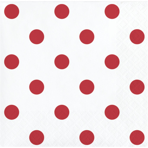 """Club Pack of 192 Red and White 2-Ply Polka Dots Beverage Napkins 5"""" - IMAGE 1"""