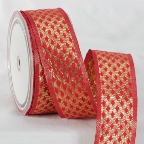 """Red and Gold Colored Metallic Finish Ribbon 1.5"""" x 27 Yards - IMAGE 1"""