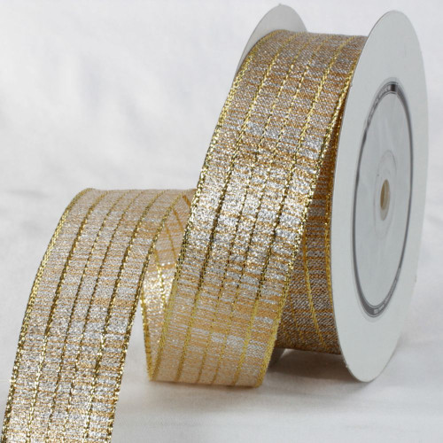 """Gold and Silver Colored Metallic Finish Ribbon 1.5"""" x 27 Yards - IMAGE 1"""
