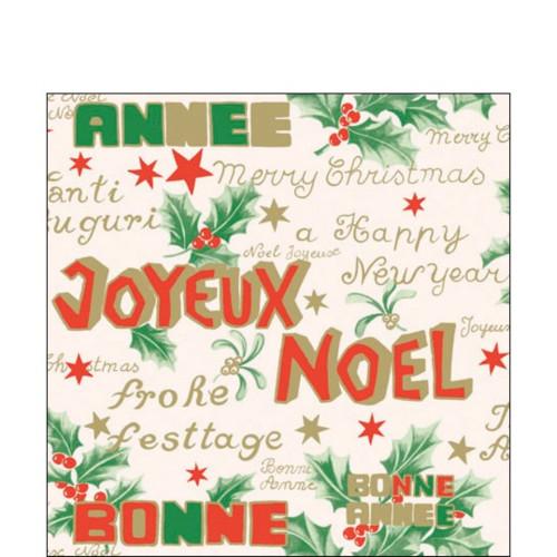 "Pack of 60 Joyeux Noel 3-Ply Cocktail Napkins 5"" - IMAGE 1"