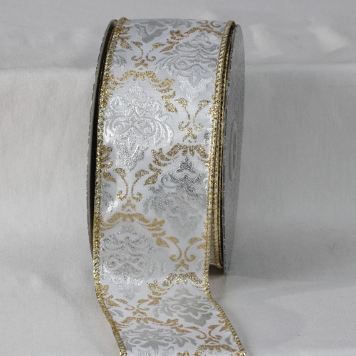 """White and Gold Colored Traditional Style Ribbon 2.5"""" x 20 Yards - IMAGE 1"""
