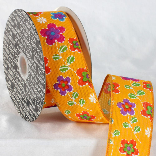 """Pink and Yellow Floral Ribbon 2"""" x 20 Yards - IMAGE 1"""