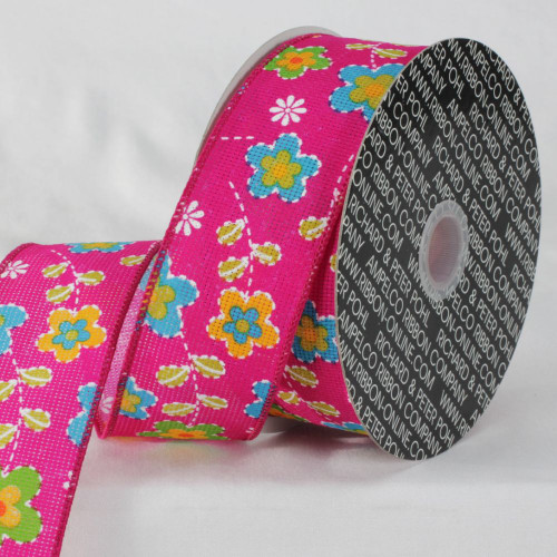 """Pink and Blue Floral Ribbon 2"""" x 20 Yards - IMAGE 1"""