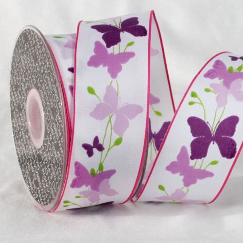 """Purple and White Butterfly Printed Ribbon 1.5"""" x 27 Yards - IMAGE 1"""