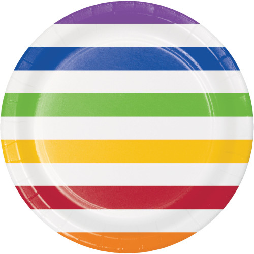 """Club Pack of 96 Vibrantly Colored Stripe Paper Plates 8.75"""" - IMAGE 1"""