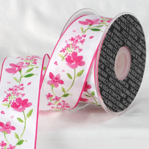 """Pink and White Floral Ribbon 1.5"""" x 27 Yards - IMAGE 1"""