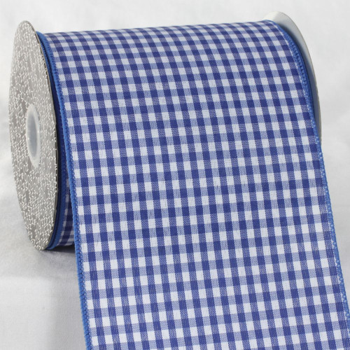 """Blue and White Checkered Ribbon 5"""" x 20 Yards - IMAGE 1"""