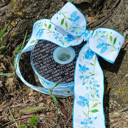 """Blue and White Floral Ribbon 1.5"""" x 27 Yards - IMAGE 1"""