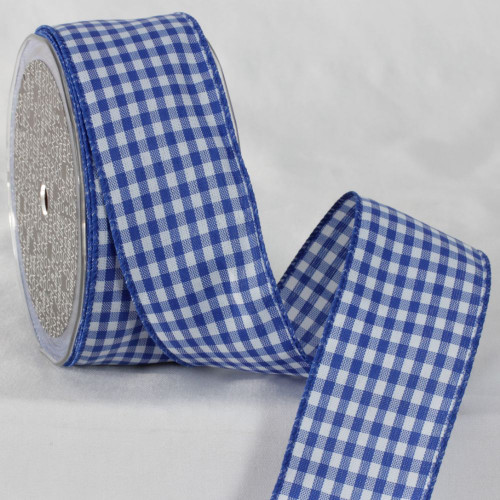 """Blue and White Checkered Ribbon 2"""" x 20 Yards - IMAGE 1"""