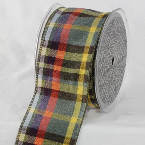 "Black and Yellow Checkered Ribbon 2.5"" x 20 Yards - IMAGE 1"
