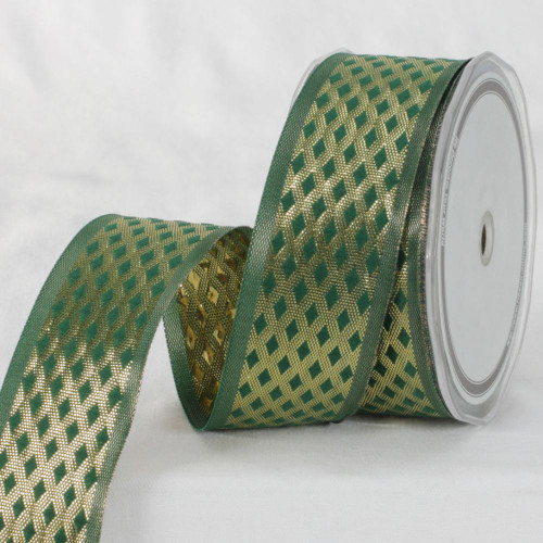 """Green and Gold Colored Metallic Finish Ribbon 1.5"""" x 27 Yards - IMAGE 1"""