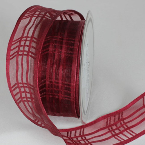 """Bordeaux Red Plaid Patterned French Wired Craft Ribbon 1.5"""" x 25 Yards - IMAGE 1"""