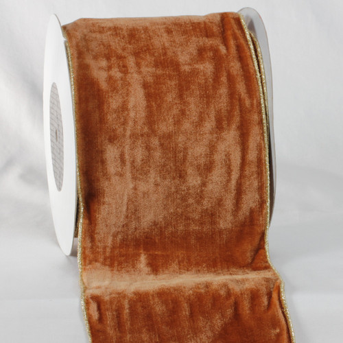 "Amber Brown and Gold Colored Woven Edge Soft Velvet Ribbon 6"" x 20 Yards - IMAGE 1"