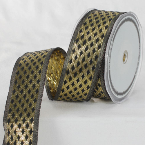 "Black and Gold Colored Metallic Finish Ribbon 1.5"" x 27 Yards - IMAGE 1"