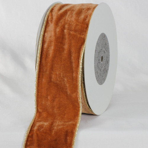 "Amber Brown and Gold Colored Woven Edge Soft Velvet Ribbon 3"" x 20 Yards - IMAGE 1"